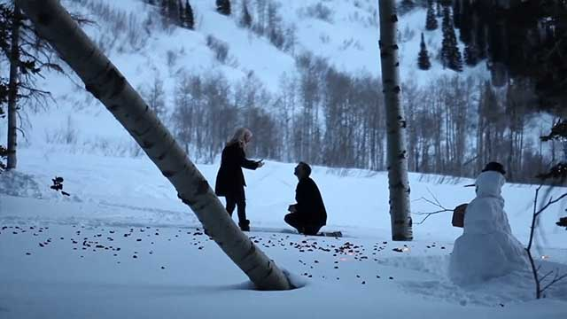 Winter proposal in snow