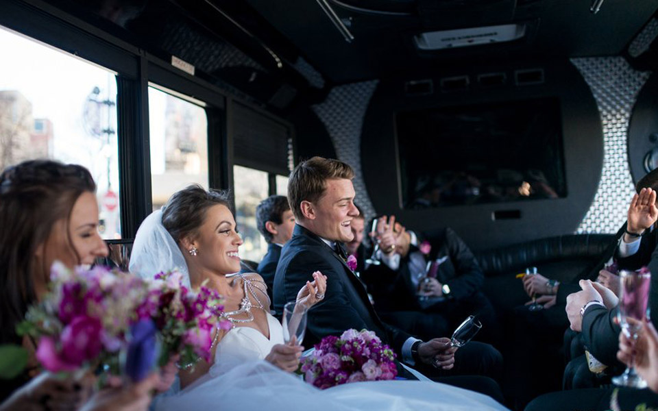 Bride-in-party-bus