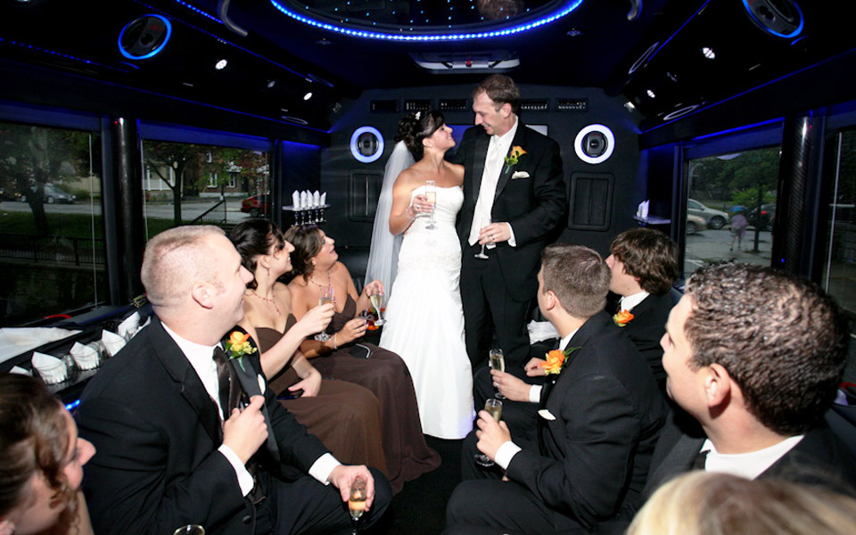 Wedding In Limo Bus