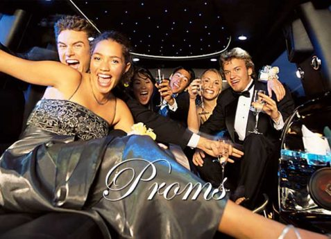 Prom Teenagers Riding In Limo