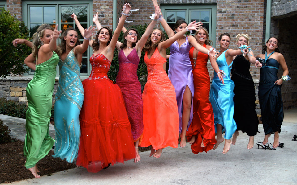 Prom Picture Outside Party Bus